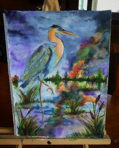 11x15 blue heron on lake watercolor by AffordableARTbyRonda
