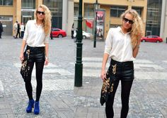 Ray Ban Sunglasses, H&M Studded Shirt And Leather Shorts, Jeffrey Campbell Lita, H&M Versace Inspired