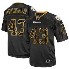 Nike Elite Mens Pittsburgh Steelers  43 Troy Polamalu New Lights Out Black  NFL Jersey  129.99 cab488c6c