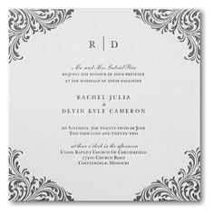 A beautiful exquisite flourish highlights your wording on this letterpress wedding invitation. Your guests are sure to admire your style. Sweet Heart Details donates all profits to help animals in need. Business Invitation, Letterpress Wedding Invitations, Elegant Wedding Invitations, Wedding Programs, Custom Invitations, Invites, Wedding Shower Gifts, Bridal Shower Favors, Bridal Shower Invitations