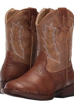 Roper Kids Charlie (Toddler) (Brown Faux Caiman/Vamp Tan Shaft) Cowboy Boots - Roper Kids, Charlie (Toddler), 09-017-1900-0076BR-200, Footwear Boot Western, Western, Boot, Footwear, Shoes, Gift, - Fashion Ideas To Inspire