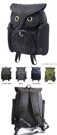 Unique Cool Owl Shape Solid Computer Backpack School Bag Travel ...