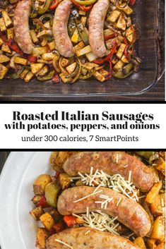Roasted Italian Sausages with Potatoes, Peppers, and Onions - Slender Kitchen- 7 Smart Points