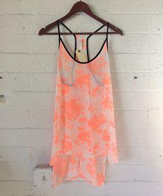 Orange Multicolor SHEER SUMMER TANK TOP WITH NEON TRIM @ Shop Lately $25