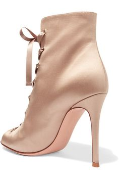 Gianvito Rossi - Lace-up Satin Boots - Neutral - IT40.5