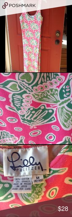 "Lilly Pulitzer Maxi Dress Easy care summer maxi.  Pink base with do oration green butterflies.   Look closely - ""Lilly"" is hidden within every butterfly.  Side slit for comfort.  A fun unique Lilly dress.        92% cotton 8% spandex.    Sizing says Medium 8-10 Lilly Pulitzer Dresses Maxi"