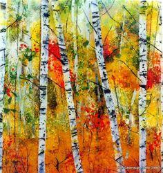 """Birches in Autumn15.5"""" x 14""""    glass artist Ann Cavanaugh"""