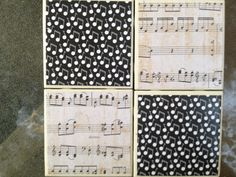 Music Notes Ceramic Tile Coaster