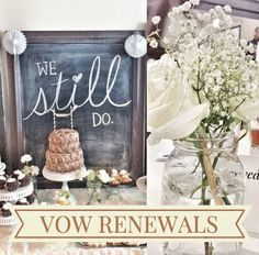 Renewing Wedding Vows So cute for an anniversary party 60th Anniversary Parties, 60 Wedding Anniversary, Parents Anniversary, Golden Anniversary, Anniversary Ideas, Anniversary Decorations, Shabby Chic 50th Anniversary, 60th Anniversary Color, Anniversary Surprise
