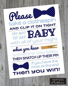 Baby Shower Game - Don't Say Baby Clothespin - Boy - Bow Ties - Coordinating A…