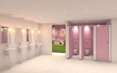 Futuristic pink light and airy washroom.
