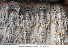 Ancient sculptures in ruins at an indian temple