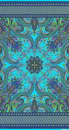 """Mystique - Paisley Fronds - Turquoise/Gold - 24"""" x 44"""" PANEL - Quilt Fabrics from www.eQuilter.com"""