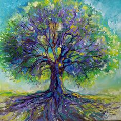Tree Art Print featuring the painting Purple Heart Tree Of Life by Marcia Baldwin Tree Branch Tattoo, Oak Tree Tattoo, Tree Of Life Artwork, Tree Of Life Painting, Tree Paintings, Original Paintings, Tree Of Life Pictures, Frida Art, Heart Tree