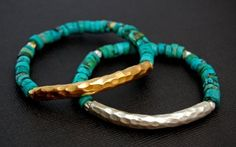 TURQ BAR - vermeil gold or solid silver bars w/ turquoise rondelles. Like Cimber Designs on FB to find out how you might be able to get it on sale. www.facebook.com/cimberdesigns