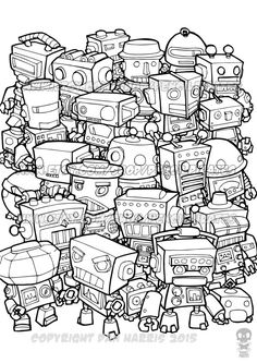 Retro Robot Colouring Page Adult colouring book by PencilPirates