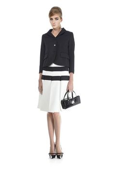 Marc Jacobs SS13 3-Button Blazer and Pleated Skirt with Horizontal Stripes