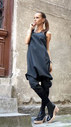 New Collection AW/15 Black Cold Wool Jumpsuit / Extravagant 7/8 Drop Crotch Jumpsuit by Aakasha A19229