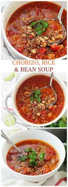 Chorizo, Rice and Bean Soup | http://www.diethood.com | Spicy chorizo sausage adds amazing flavor to this easy, warm and comforting Bean Soup.