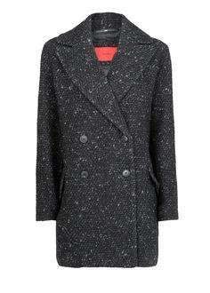 Donkergrijze Oversized jas van getextureerde wol | MANGO