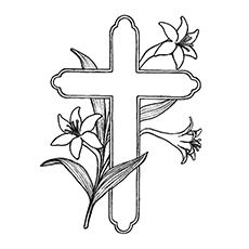 Cross Covered with Lilies Coloring Page Make your world more colorful with free printable coloring pages from italks. Our free coloring pages for adults and kids. Easter Bunny Colouring, Easter Egg Coloring Pages, Bible Coloring Pages, Alphabet Coloring Pages, Flower Coloring Pages, Free Printable Coloring Pages, Coloring Pages For Kids, Coloring Sheets, Adult Coloring