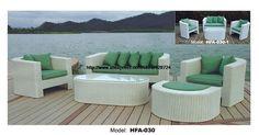 Refreshing Green Sofa Made Of PE Rattan 123 Ottoman Sectional Sofa Vine Garden Outdoor Furniture Sofa Set 2016 HFA030