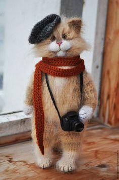 Купить А на улице осень... вязаный кот - кот, серый, котик, коты, коты и кошки