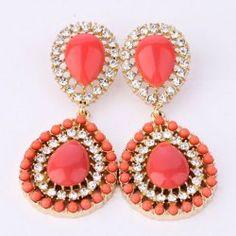 Pair of Sweet Rhinestone Faux Gem Embellished Waterdrop Pendant Earrings For Women