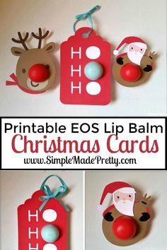 These printable Christmas themed EOS lip balm cards are perfect to give as gifts! DIY Christmas gifts, Christmas gifts, Christmas, handmade Christmas gifts, Teacher gifts, neighbor gifts, printable Christmas gifts, EOS gift card, Christmas EOS, stocking stuffers, gifts for mom, gifts for her