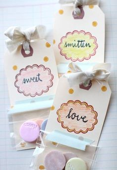 Stamped tags + candy = cute party favors! (tutorial by Jenny Doh)