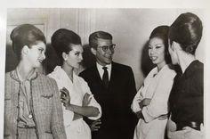1960 - Yves Saint Laurent & Models after the Dior presentation in London