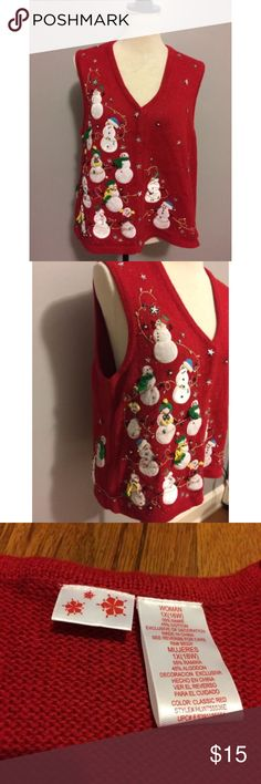 Ugly Tacky Christmas Sweater Vest Snowmen Size 1X Red ugly Christmas plus size sweater vest that is loaded with snowmen. There are no holes or stains. Size 1X/16W Sweaters