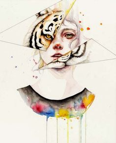 Draw Tigers Watercolor girl with tiger reflection on mirror pieces tattoo design Watercolor Tiger, Watercolor Portraits, Watercolor Illustration, Watercolour Painting, Animal Drawings, Art Drawings, Simple Drawings, Reflection Art, Tinta China