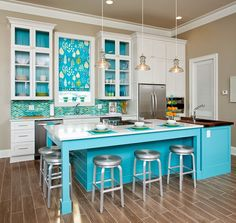 Really Sweet Color Ideas For Kitchen Walls.This Alabama Beach Home Is The  Perfect Place For A Colorful Kitchen! Blue Green Tiles Are Reminiscent Of  Tiny ...