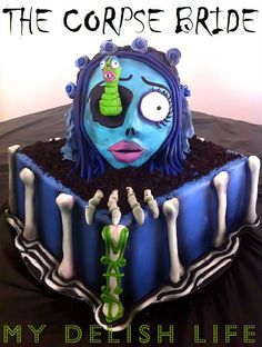 Corpse Bride Cake--cool but I'm positive I couldn't eat a slice of it.its that mind/over/matter bs and the fact there is a worm staring at me :) Crazy Cakes, Fancy Cakes, Unique Cakes, Creative Cakes, Tim Burton, Holloween Cake, Horror Cake, Cupcake Cakes, Cupcakes