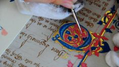 Medieval Manuscript Reproduction: Painting an illuminated letter. Mystery of History Volume 2, Lesson 25 #MOHII25