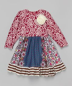 Love this Burgundy Damask Babydoll Dress - Toddler & Girls by Ruby and Rosie on #zulily! #zulilyfinds