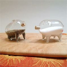 glass piggy salt and pepper shakers! their snouts are CORK! $17