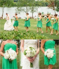 Green and white bridesmaids - so pretty! The Pavilion at Hunter Valley Farm weddings. Click to view more from this wedding!