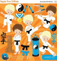 80% OFF SALE Karate kid clipart commercial use, baby hero vector graphics, digital clip art, digital images - CL881