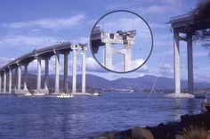 Two cars hang precariously on the Tasman Bridge in Hobart Tasmania 1975. by bcshort, via Flickr