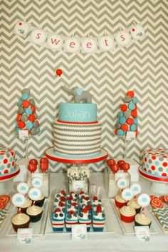 Chevron, elephant, and balloon inspired first birthday party