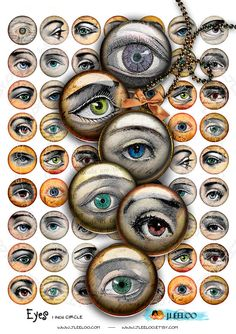 Instant Download - Digital sheet printable EYES 1 inch circle jpg man woman steampunk victorian jewelry  / t295 via Etsy