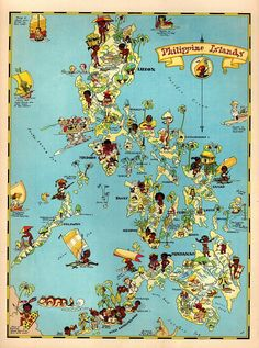 Vintage Philippines Picture Map Cartoon Map Philippine Islands Print Beach House Decor Gift for Traveler Wedding Birthday Vacation RT by OnTheWallPrints on Etsy 1930s America, Philippine Map, 1930s Cartoons, Ohio Map, Pictorial Maps, Island Map, Antique Pictures, Fun Illustration, Antique Maps