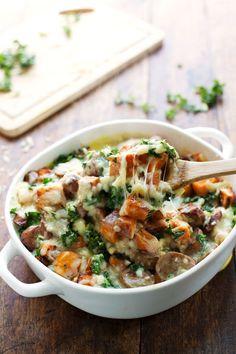 Sweet Potato, Kale, and Sausage Bake with White Cheese Sauce #sweetpotato #kale #easyrecipe