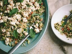 Bulgur Salad with Marinated Feta