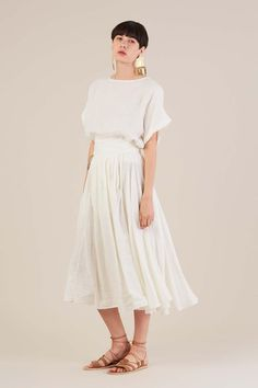 8fadf74ce97 Wrap Skirt in Eggshell by Black Crane Linen Skirt