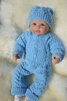 Aran Irish Knit Snowsuit and Hat Set in Blue month. Also Fit 22 inch reborn Doll Ready to Ship by on Etsy Toddler Dolls, Reborn Baby Dolls, Doll Patterns, Knitting Patterns, Pram Sets, Baby Warmer, Coming Home Outfit, Baby Makes, Snow Suit