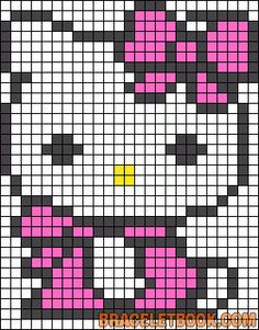 Hello Kitty kawaii bow perler bead pattern