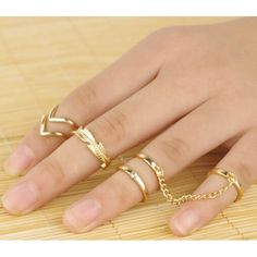 Fashion Style Leaves & V Shape Beading Connected Five Pieces Rings for wholesalejewellery|Lower Wholesale Price USD $4.73 #wholesalejewellery ##womenrings By www.clubwholesale.net